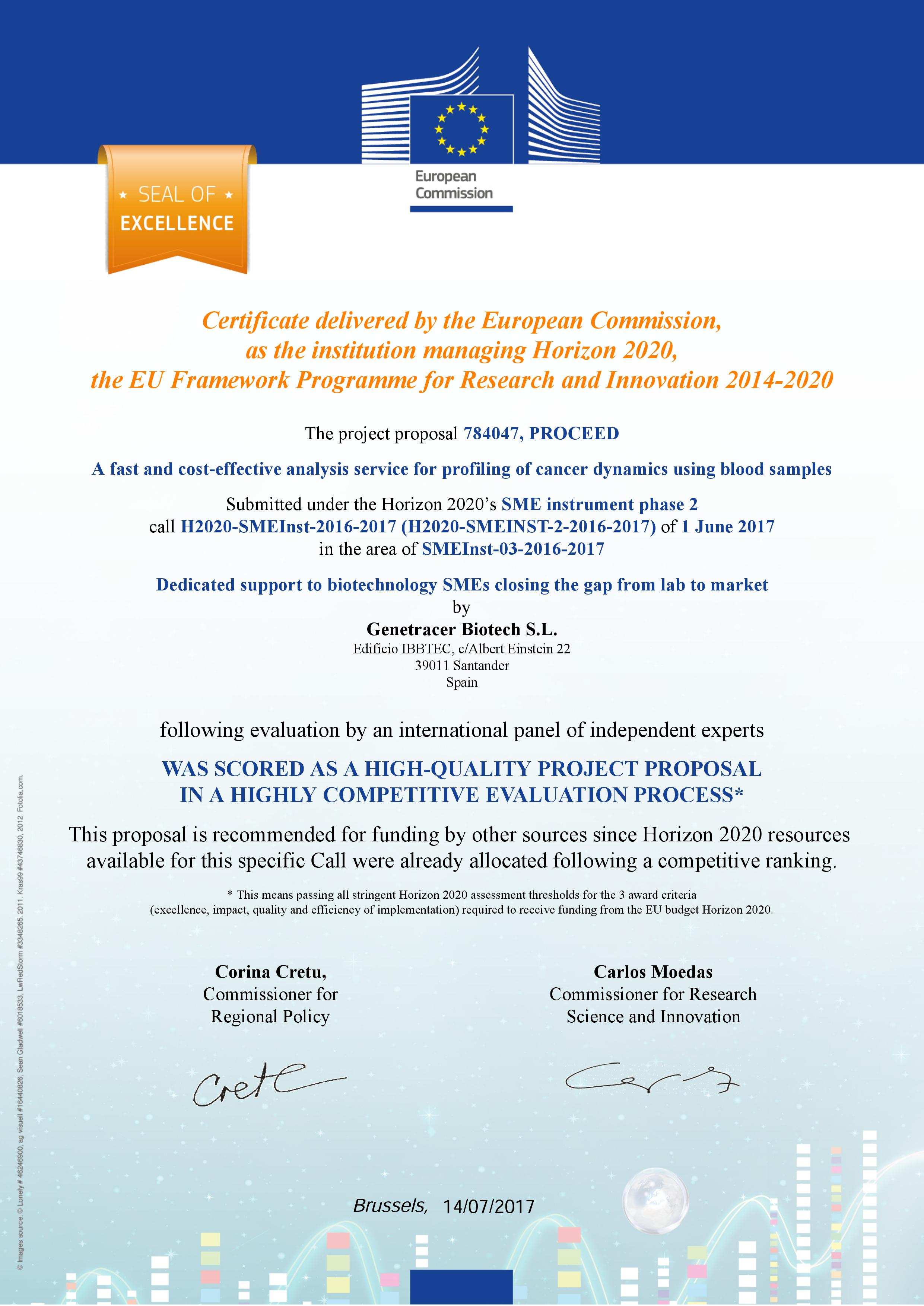 Genetracer Obtains The Certificate Of Excellence From The European